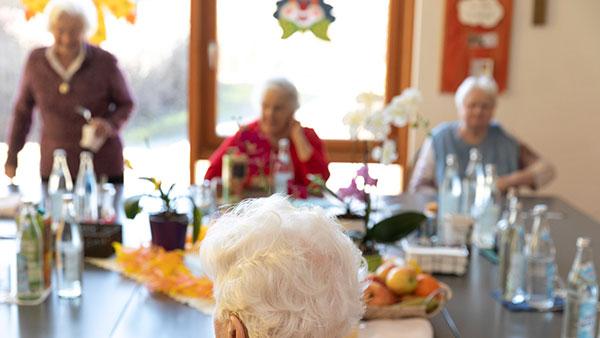 Gruppenfoto: Mehrere ältere Menschen sitzen an einem Tisch.
